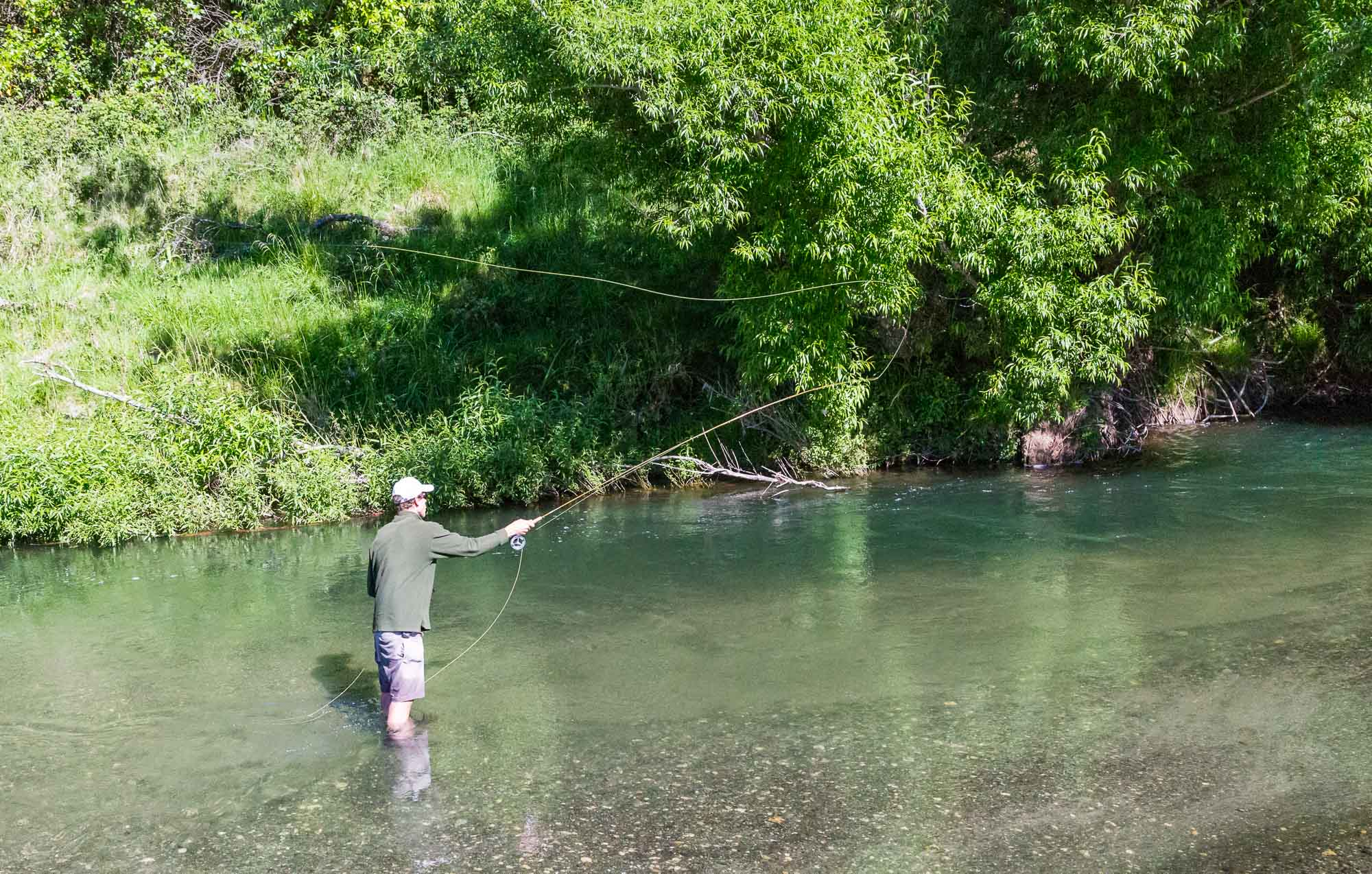 overhead cast fly fishing