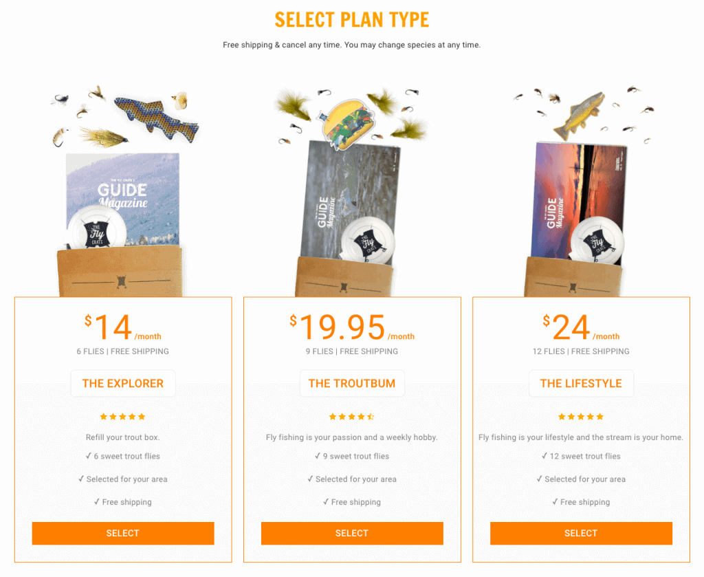 fly fishing subscription plan